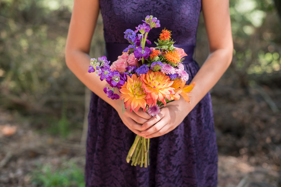 Purple and Orange Bouquet at Sleepy Hollow Barn Wedding by Southern Jewel Photography