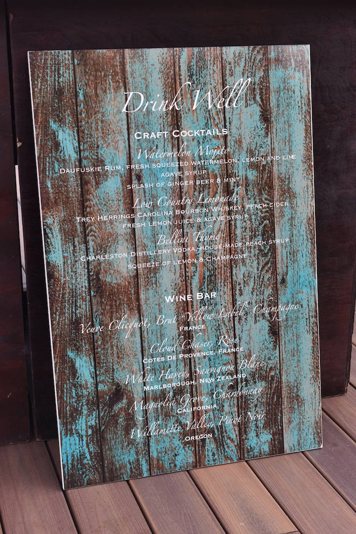 Bar Menu at 'Wed at the Westin' Welcome Party on the Oceanfront Deck of the Westin Hilton Head Island Resort & Spa