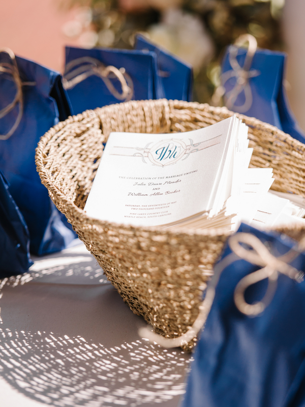 Myrtle Beach Wedding Programs by The Blu Sash