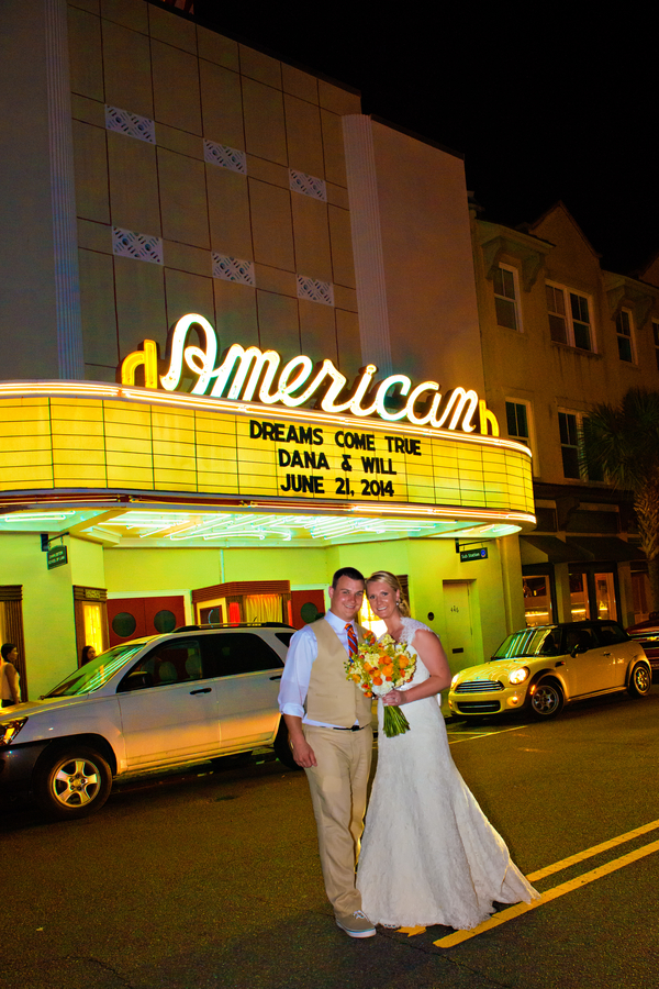 Charleston Wedding in front of the American Theater