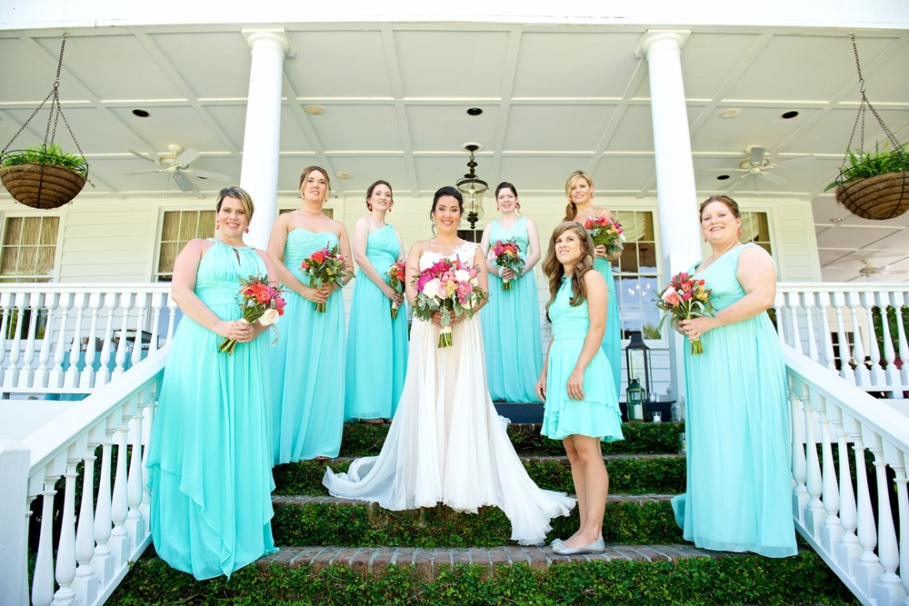 Aqua bridesmaids dresses from Bella Bridesmaids at Christine Kohler + Brook Bristow's Summer Charleston wedding