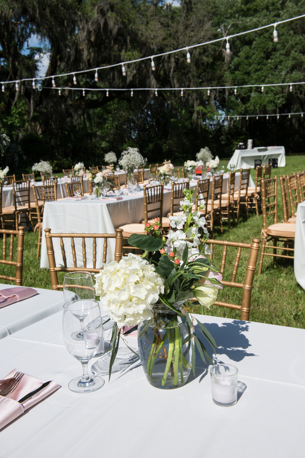 Open-air reception at Magnolia Plantation and Gardens wedding