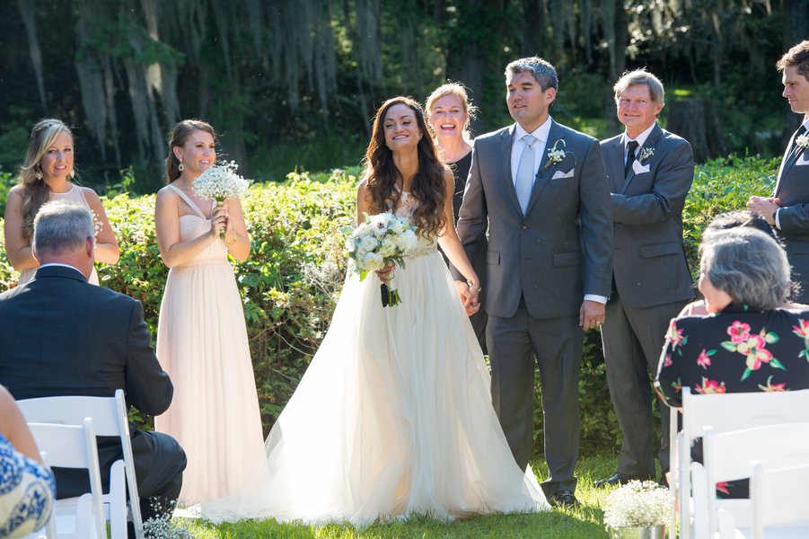 Outdoor ceremony at Magnolia Plantation and Gardens wedding in Charleston, SC