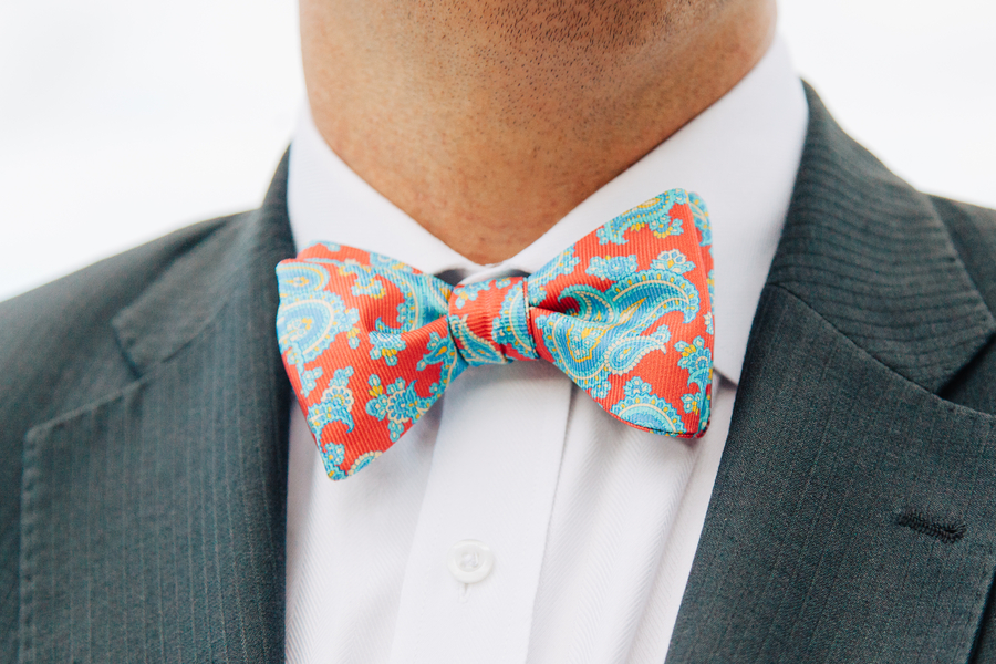 Coral and Blue Bow Tie at Charleston Wedding Anniversary Shoot at Waterfront Park