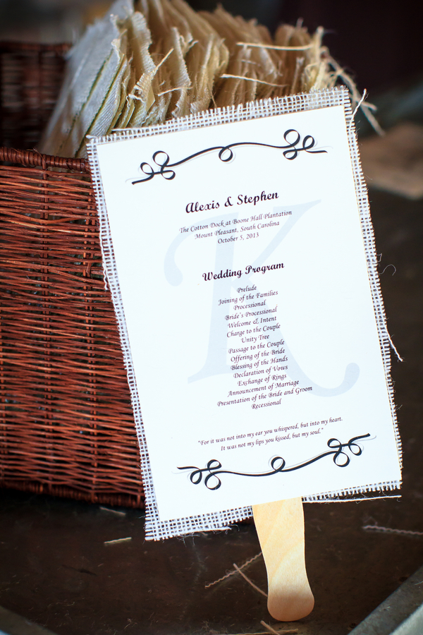 Charleston Wedding Programs at Boone Hall Plantation by David Strauss Photography