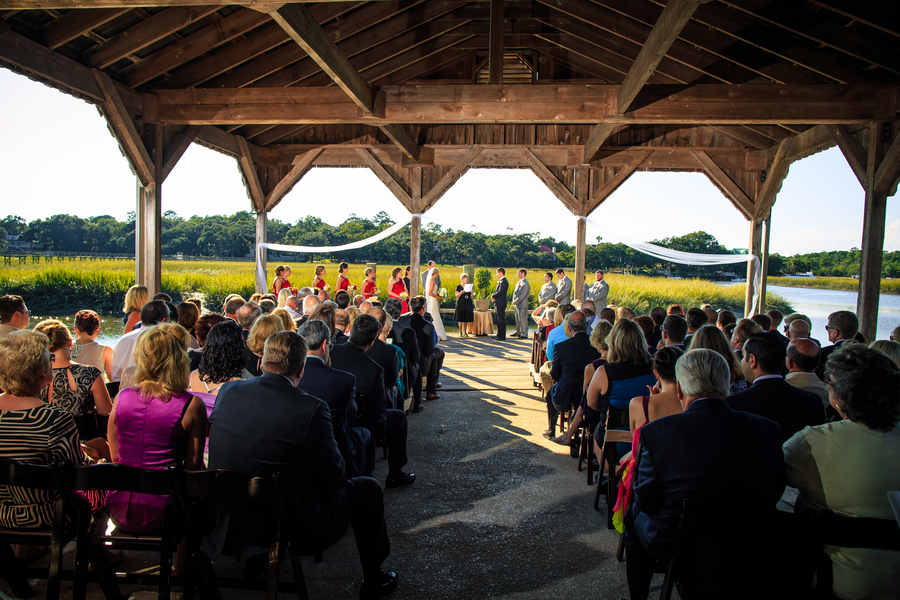 Boone Hall Plantation wedding ceremony at The Cotton Dock by David Strauss Photography