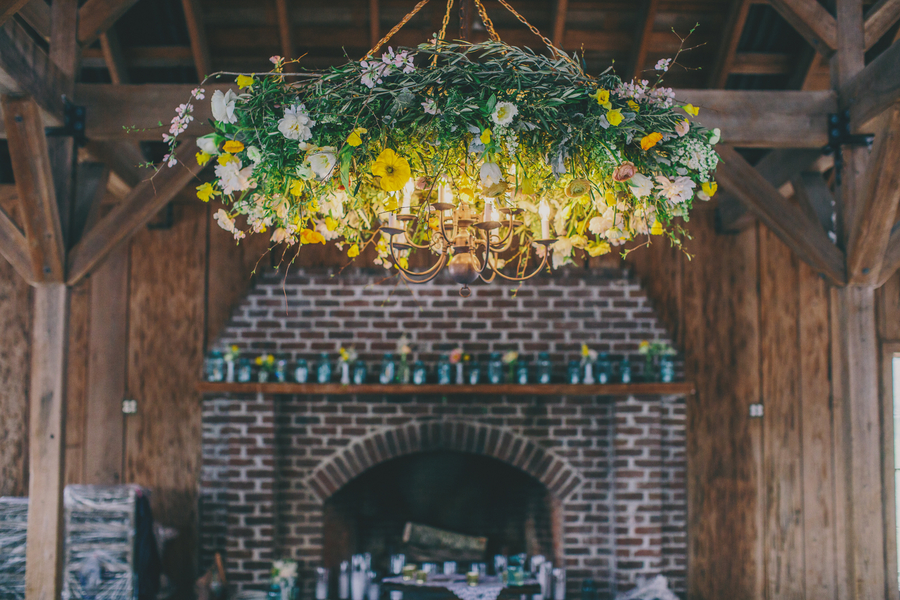 Image via Boone Hall wedding by Hyer Images and Pure Luxe Bride - chandelier by Branch Design Studio