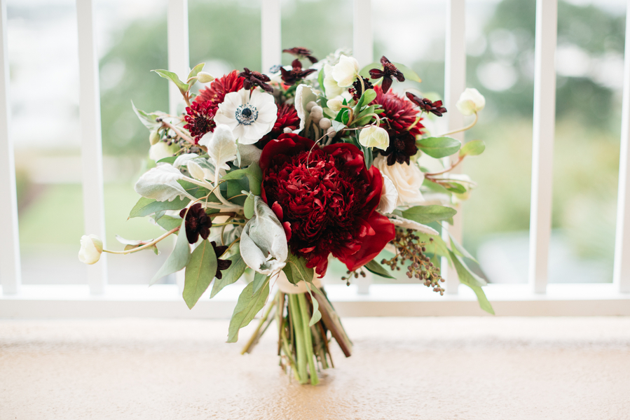 Charleston Wedding with deep red Bouquet by Charleston Flower Market