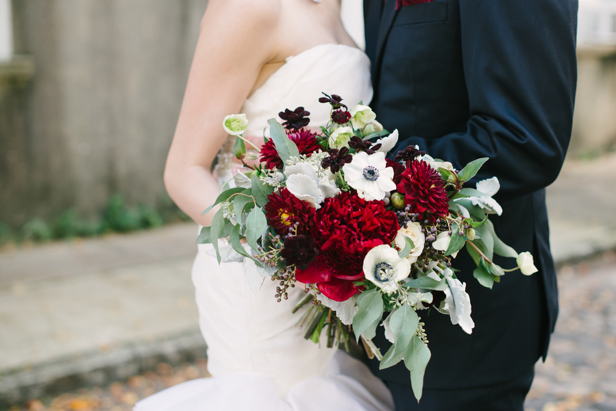 Dark Red Charleston Wedding bouquet by Charleston Flower Market