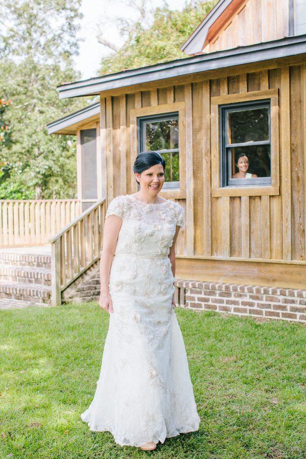 Charleston wedding first look at Pepper Plantation by Riverland Studios
