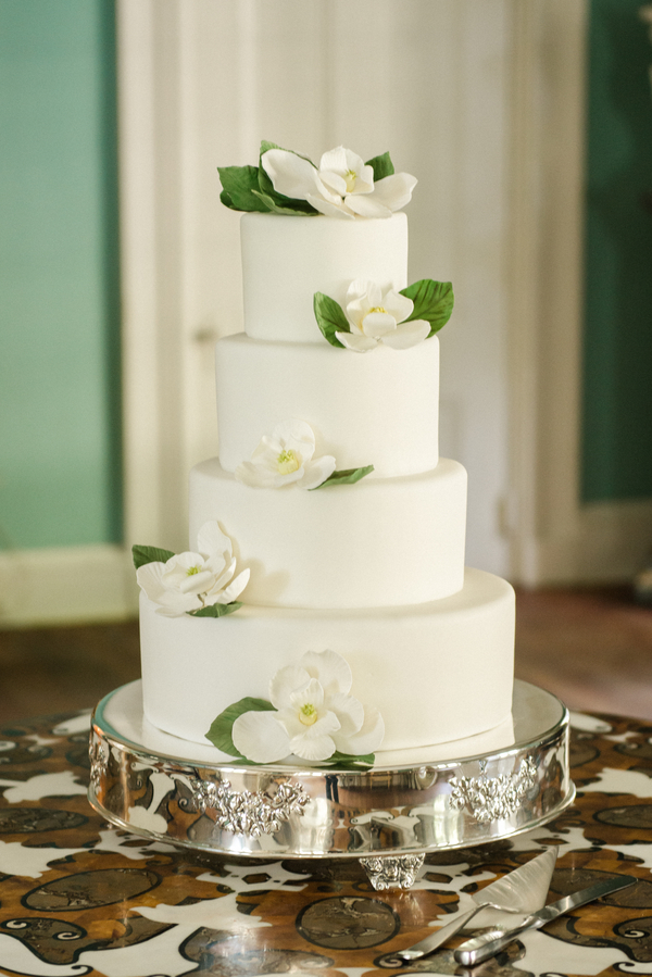 White Magnolia Cake by FISH at Brittany + Mark's William Aiken House wedding