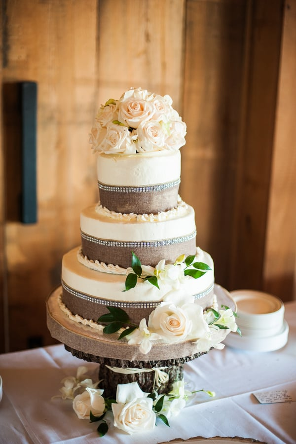 Burlap Cake at Pepper Plantation wedding by Alyona Photography
