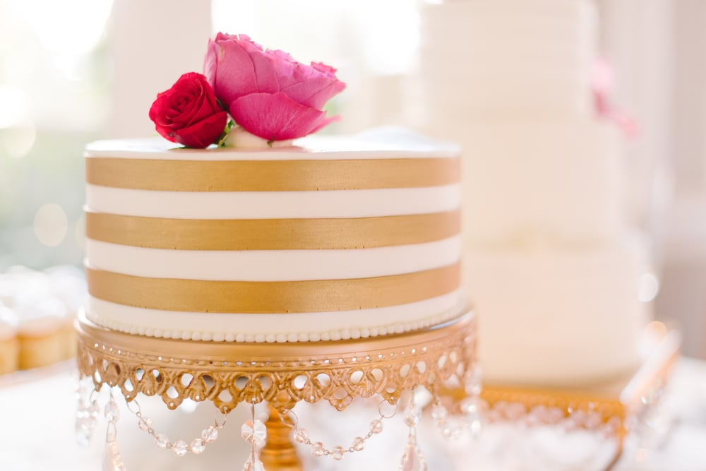 Gold striped cake by Ashley Bakery at Mills House Hotel wedding in Charleston, SC