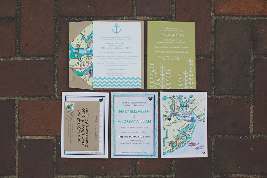 Mary + Andrew's Charleston Wedding invitations at Rice Mill Building by Billie Jo and Jeremy Photography