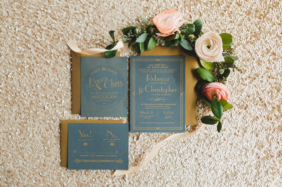 Charleston wedding invitations at Pavilion at Pepper Plantation by Priscilla Thomas Photography