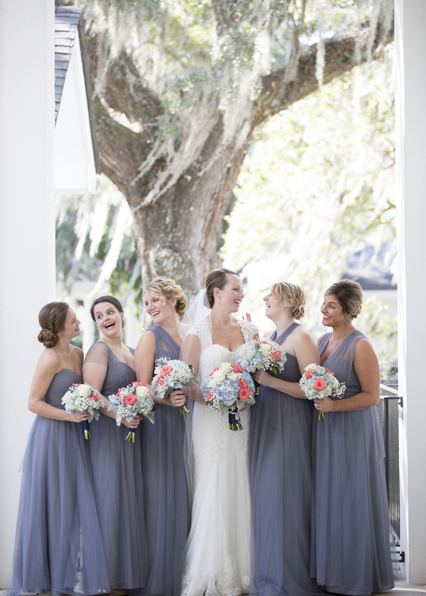 Greu Bridesmaids dresses at Charleston Wedding at Harborside East by Ava Moore Photography