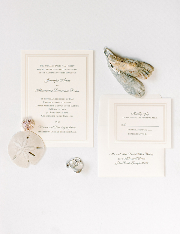 Coastal wedding invitations from Debordieu Club in Georgetown, SC by Pasha Belman Photography