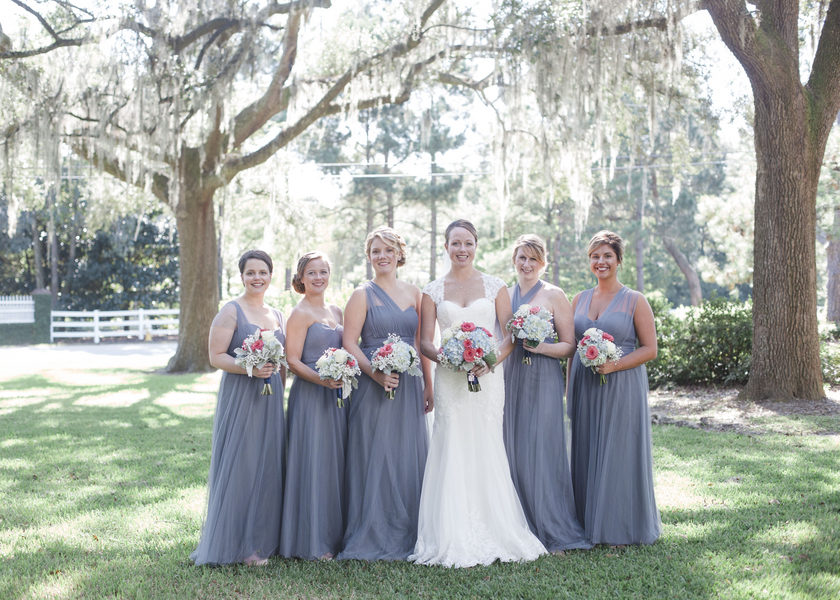 Grey Bridesmaids Dresses from Rachel + Brandon's Harborside East wedding by Ava Moore Photography.
