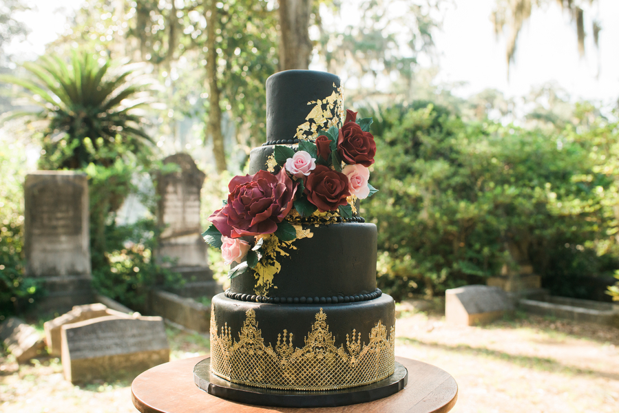 Black and Gold Savannah Wedding Cake by Wicked Cakes of Savannah