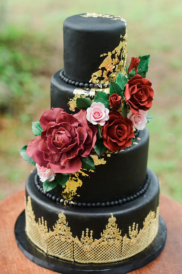 Gold and Black Savannah wedding cake by Wicked Cakes of Savannah