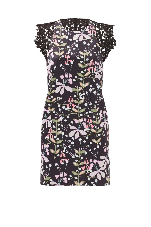 Cynthia Rowley Dark Floral Garden Shift - Spring Summer Wedding Reception Dress from Rent The Runway
