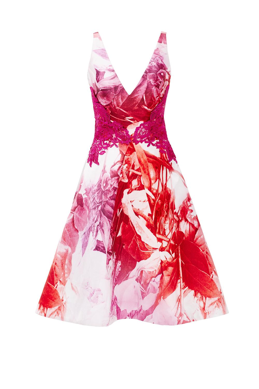 Monique Lhuillier Pink Petal Print Dress on Rent The Runway