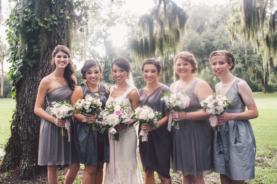 Bridesmaids grey dress with varying necklines
