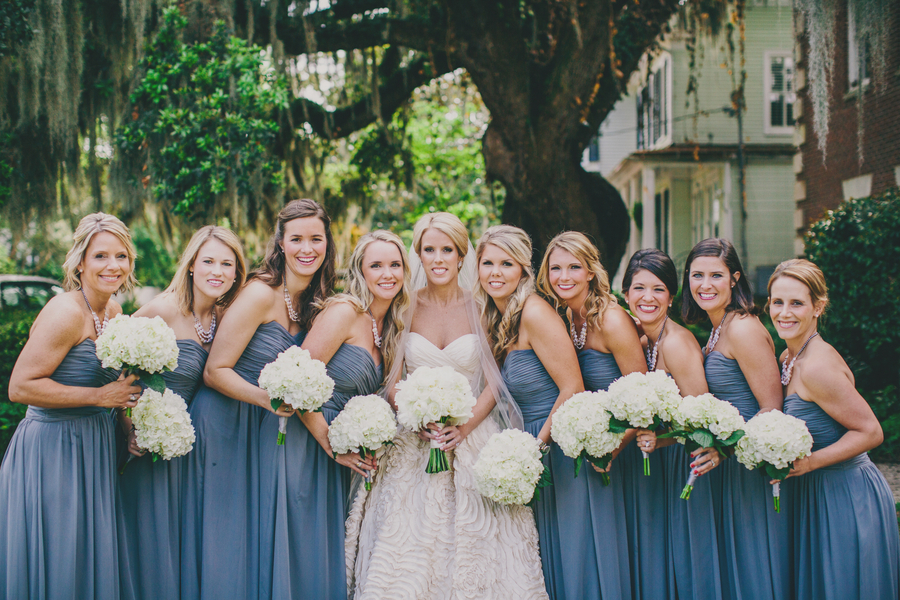 Long Grey Bridesmaids Dresses from The Dessy Group at Bella Bridesmaids - Collins + Kinsey's Elegant Harborside East weding l Hyer Images