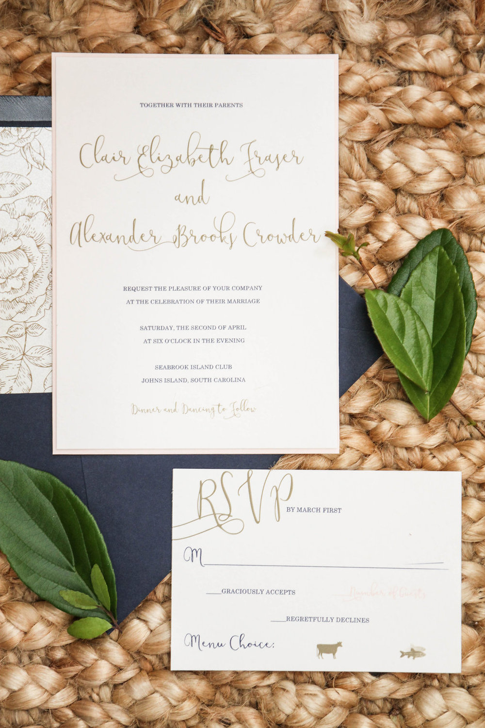 Invitations at Seabrook Island Club wedding in Charleston, South Carolina by Lowcounty vendors Chelsea Paige Photography, Miele Events