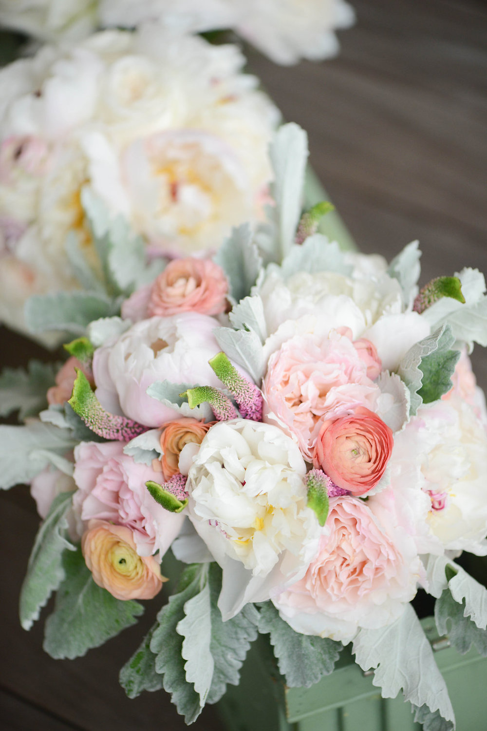 Pink peony + ranunculus bouquet at Seabrook Island Club wedding in Charleston, South Carolina by Lowcounty vendors Chelsea Paige Photography, Miele Events