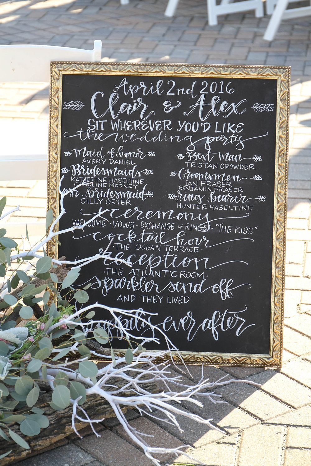 Chalkboard program sign at Seabrook Island Club wedding in Charleston, South Carolina by Lowcounty vendors Chelsea Paige Photography, Miele Events
