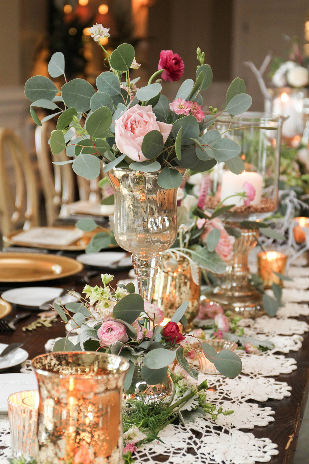 Pink peony and mercury glass centerpieces at Seabrook Island Club wedding in Charleston, South Carolina by Lowcounty vendors Chelsea Paige Photography, Miele Events