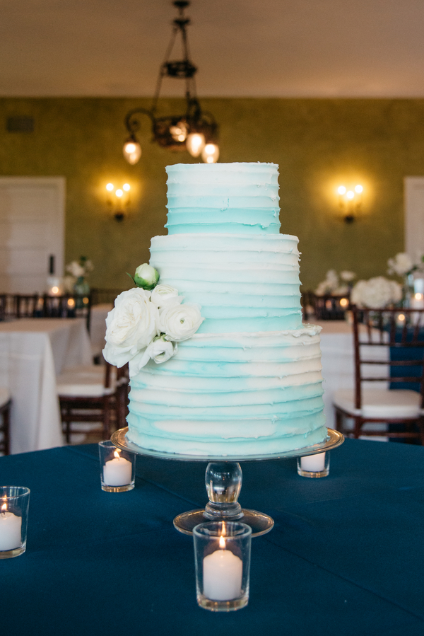 Three-tiered blue watercolor cake at Lowndes Grove Plantation wedding by Riverland Studios.