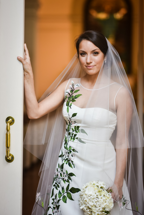 Carolina Herrera gown at Savannah wedding at the Oglethorpe Club