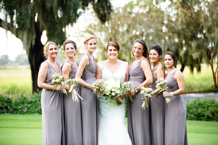 Grey Bridesmaids dresses at Caledonia Golf & Fish Club wedding by Myrtle Beach SC vendor Magnolia Photography