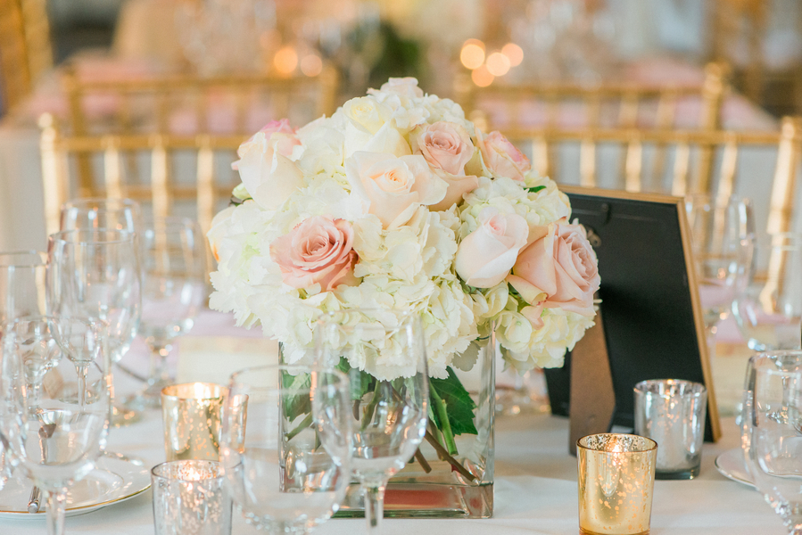 Elegant White Hydrangea and Pink rose centerpieces from Wildflowers Inc at William Aiken Wedidng by Charleston SC vendor Priscilla Thomas Photography