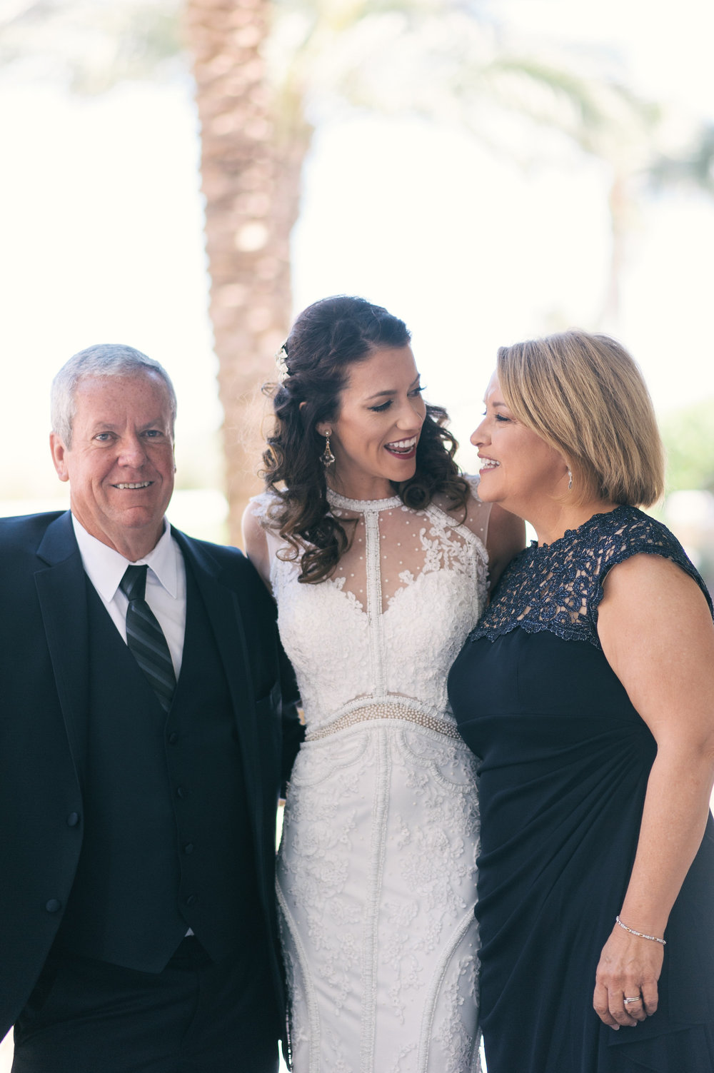 Bride with her parents at The Westin Jekyll Island, GA