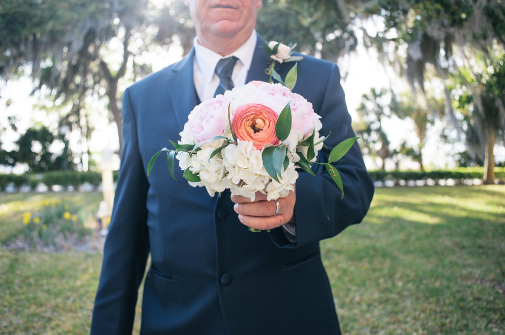 Hydrangea, peony, ranunculus bouquet at Jekyll Island, GA Wedding by Cocktails & Details and Meghan Newsome Photography