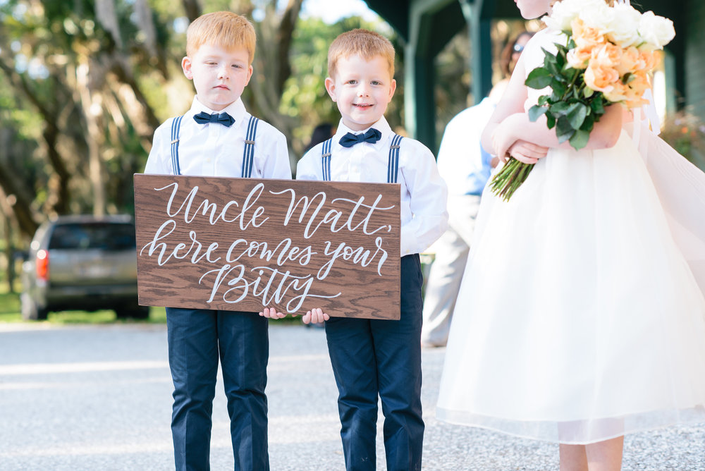 Ringbearers at Outdoor Moss Cottage wedding ceremony by Meghan Newsome Photography