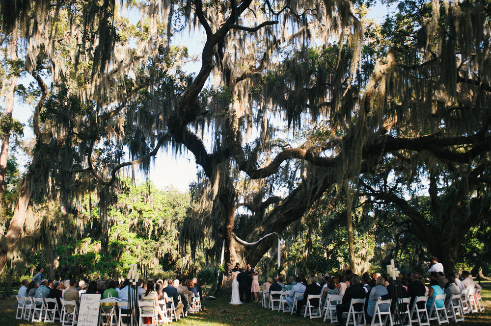 Outdoor wedding ceremony under the Spanish moss draped oak trees at Moss Cottage by Cocktails & Details