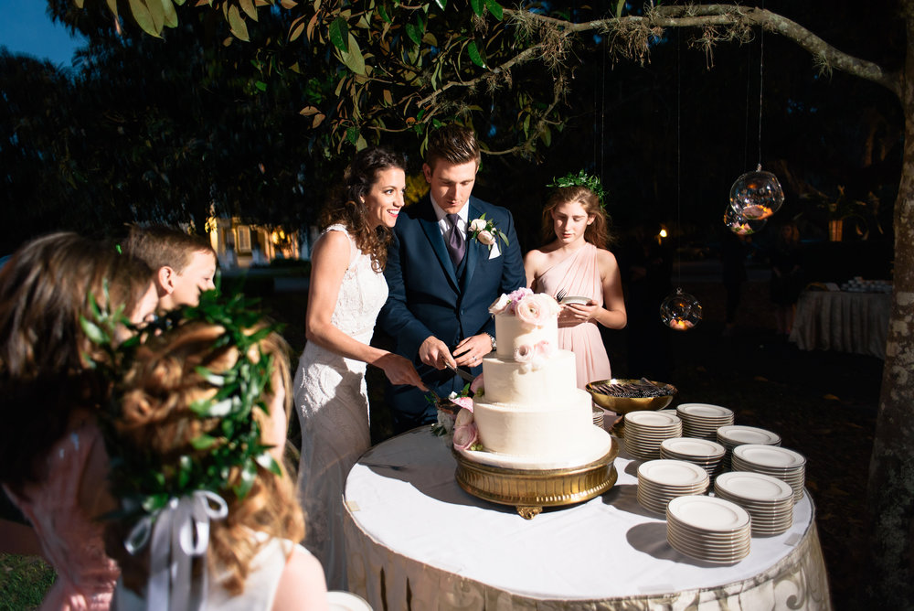 Cake Cutting at Moss Cottage wedding in Georgia
