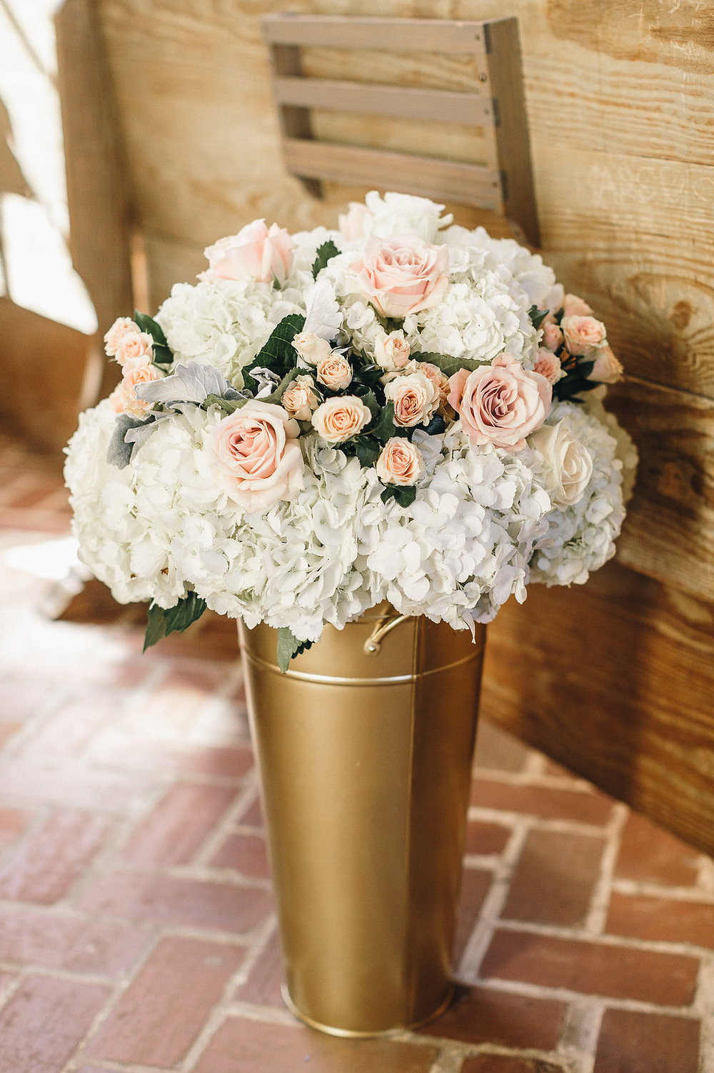 White hydrangea bouquet at Savannah GA Wedding ceremony at Bethesda Academy's Whitefield Chapel by Mackensey Alexander Photography