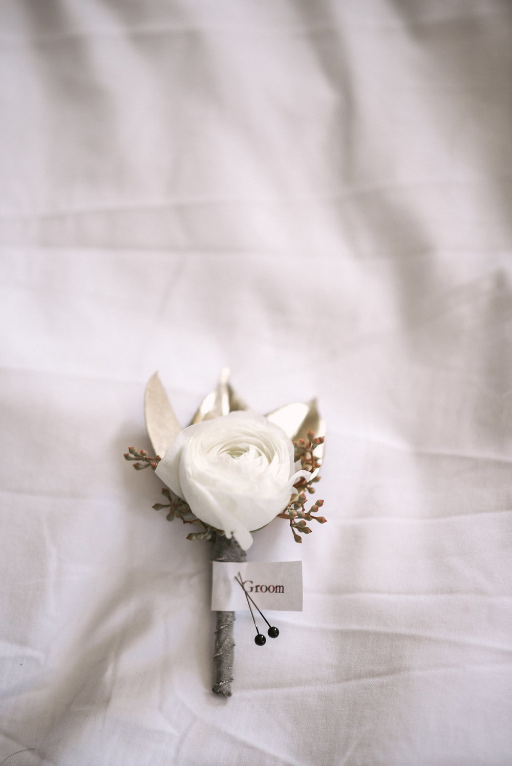 Boutonniere by A to Zinnias at Savannah GA Wedding ceremony