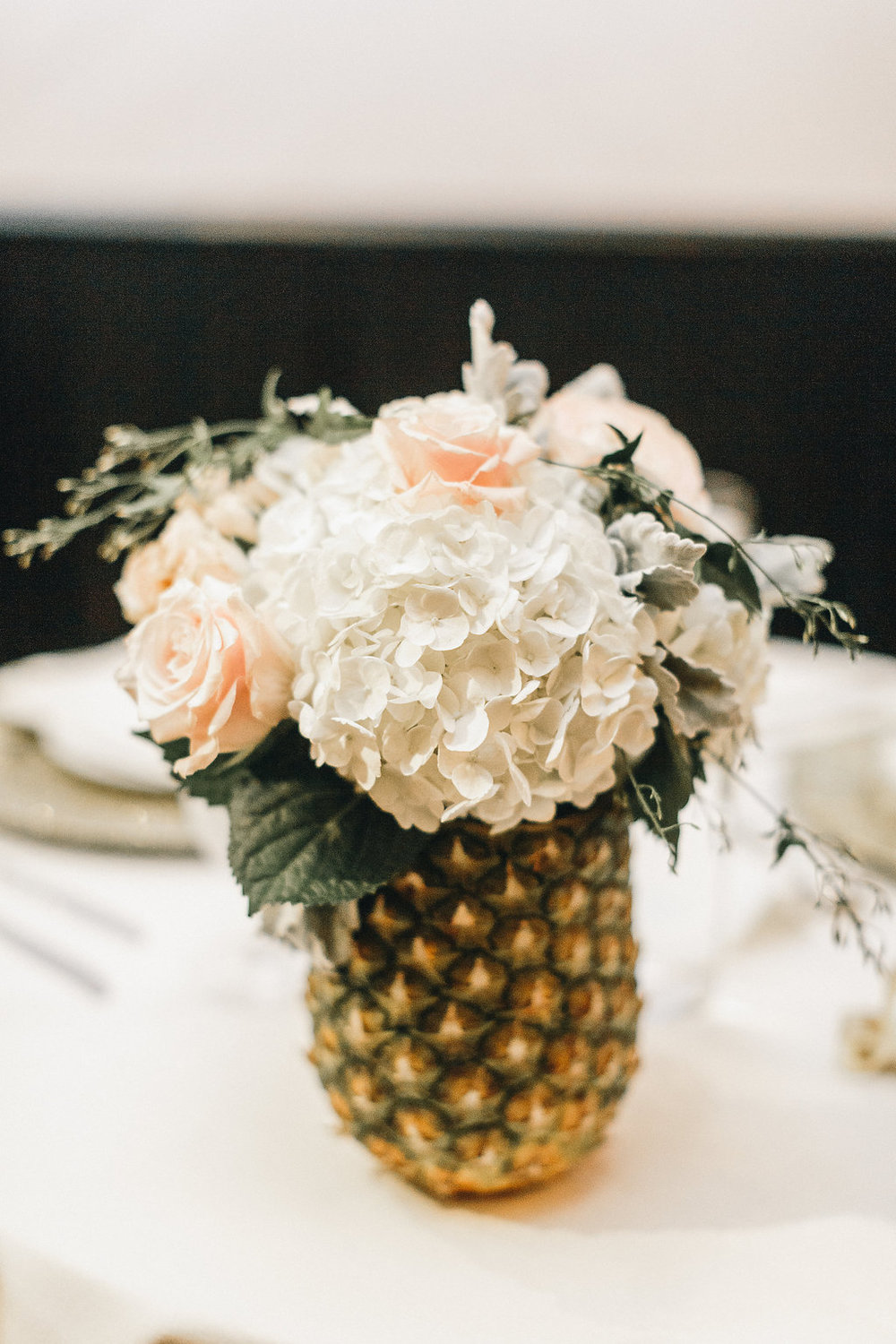Pineapple centerpieces at Savannah GA wedding by A to Zinnias