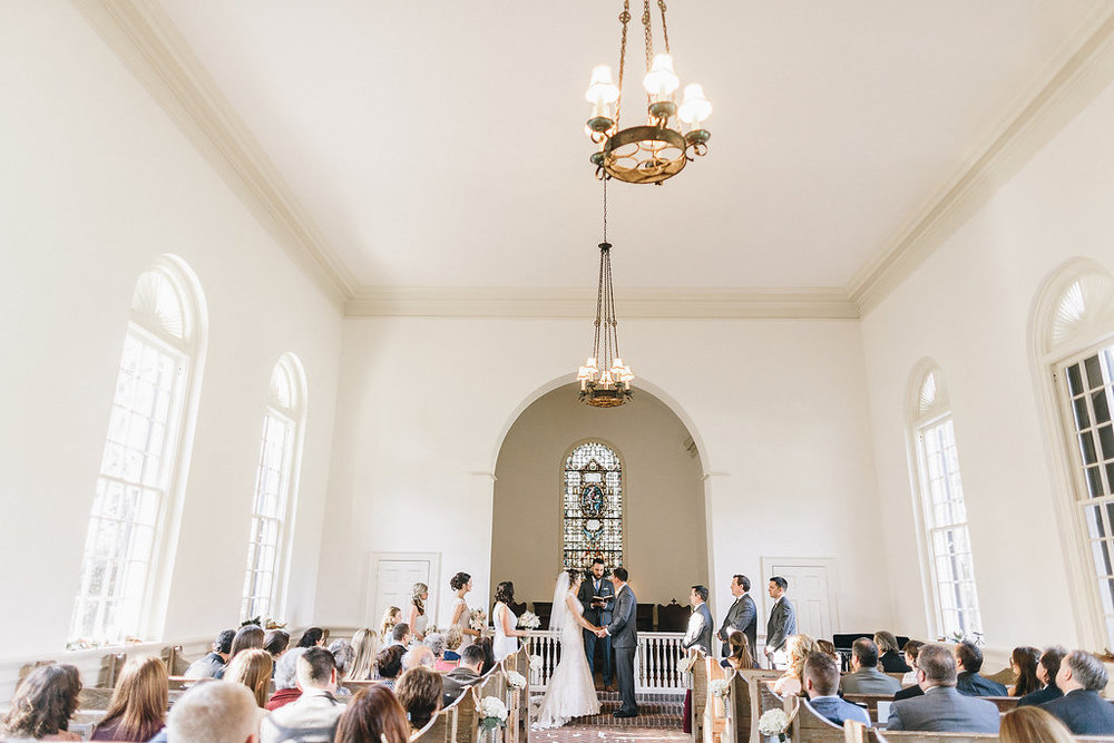 Wedding ceremony in Savannah, GA at Bethesda Academy's Whitfield Chapel by Mackensey Alexander