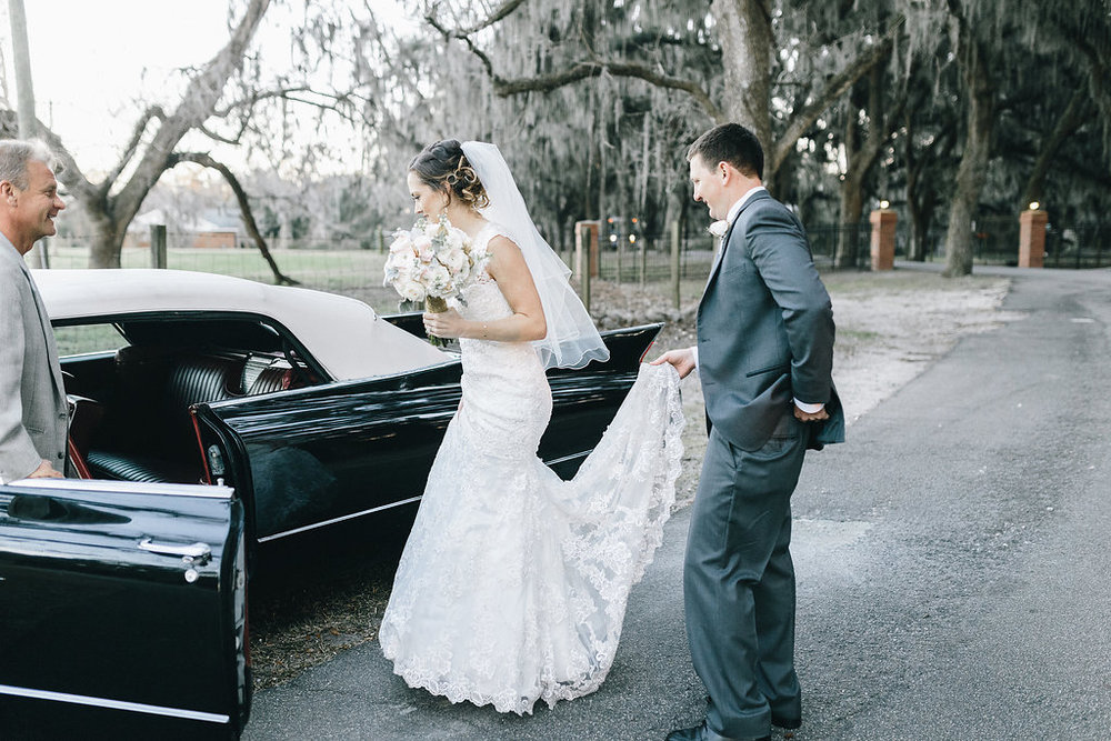 Vintage car at Savannah GA wedding outside of Whitefield Chapel