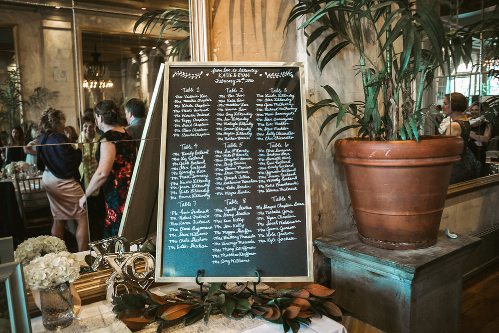 Chalkboard Wedding Menu at Savannah, Georgia wedding