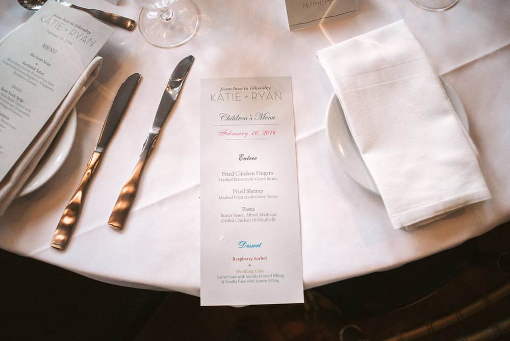 Dinner menus and Place settings at Garbaldi's Cae wedding