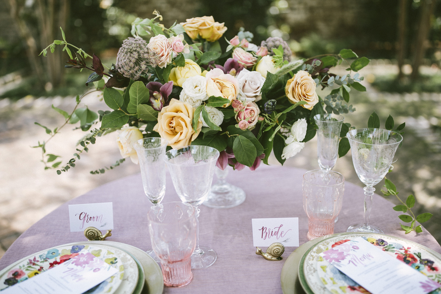 Rose and gold centerpieces from Stephanie Gibbs Events at Boho-inspied Charleston shoot by Jett Walker Photography