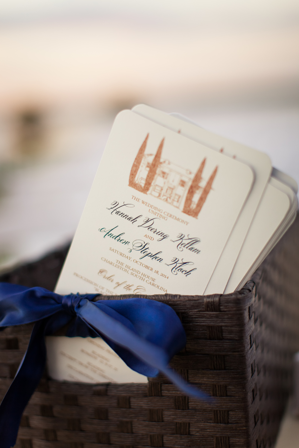 Gold and navy Charleston wedding programs by Lowcountry vendor Rebecca Keeling Photography